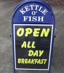 Kettle O' Fish pavement sign